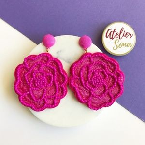 Jewelry - Floral Beaded Statement Earrings - Hot Pink
